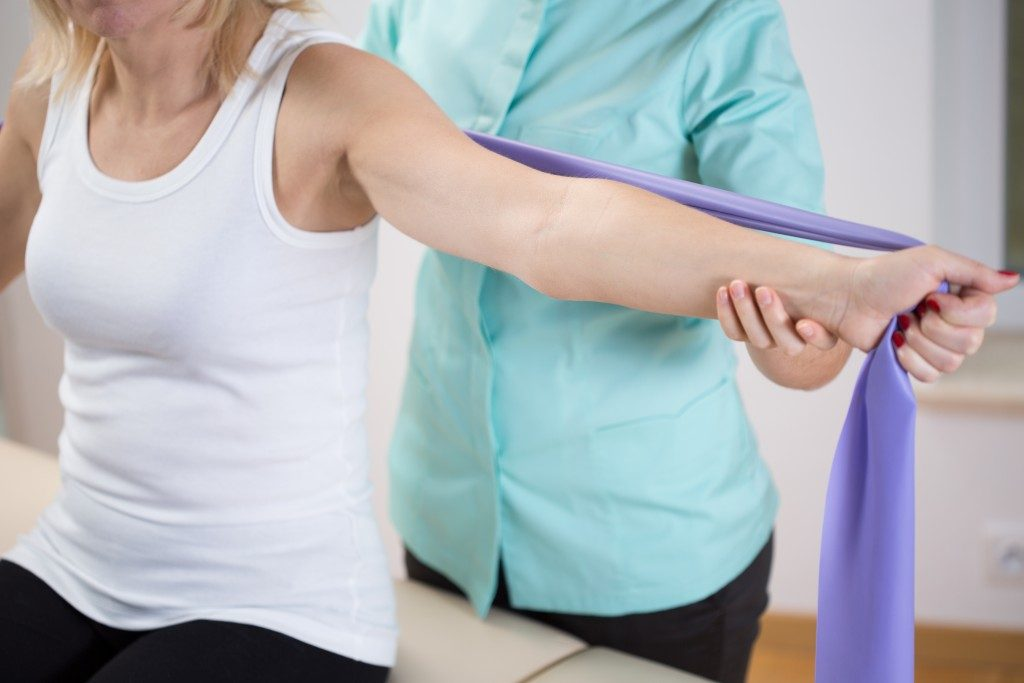 a woman undergoing injury recovery