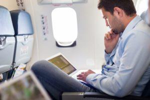 Man on his airplane seat