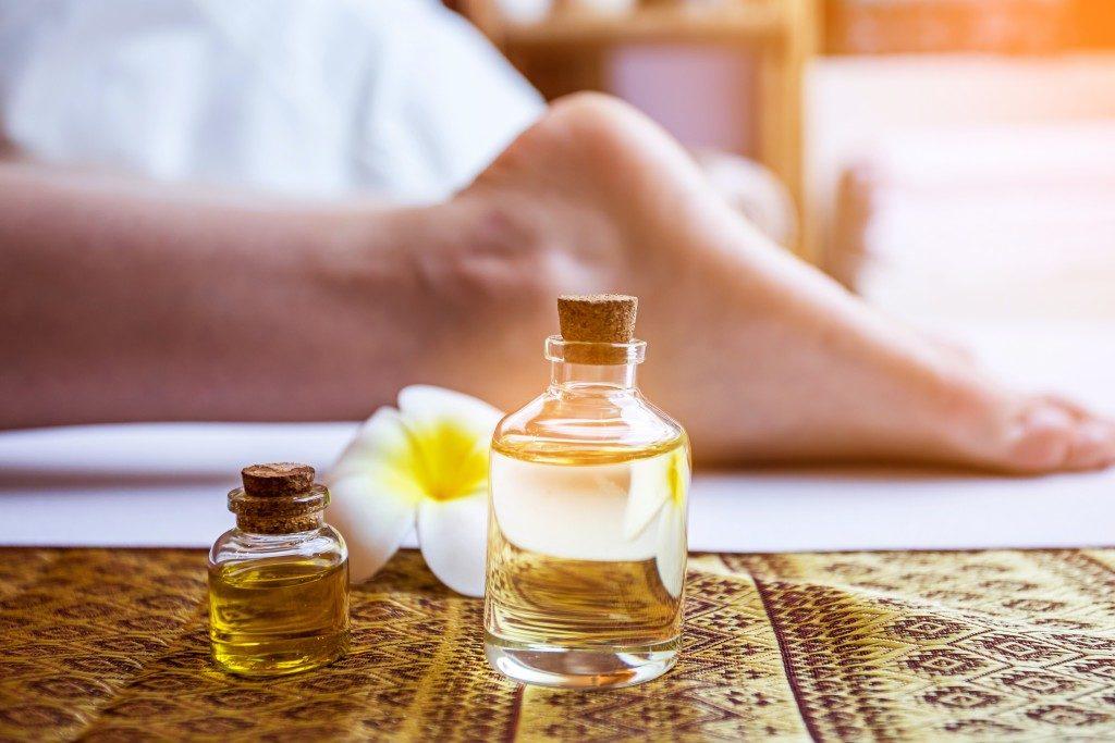 herbal oil applied on foot