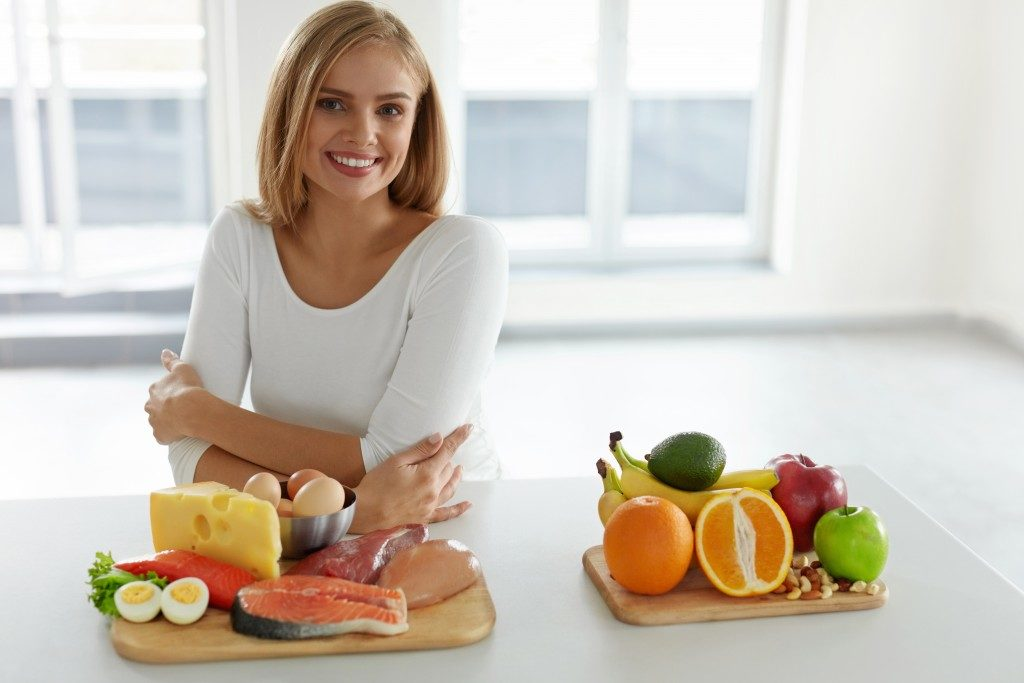 Woman about to prepare a diet meal