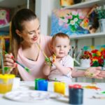 mother and child enjoying painting together